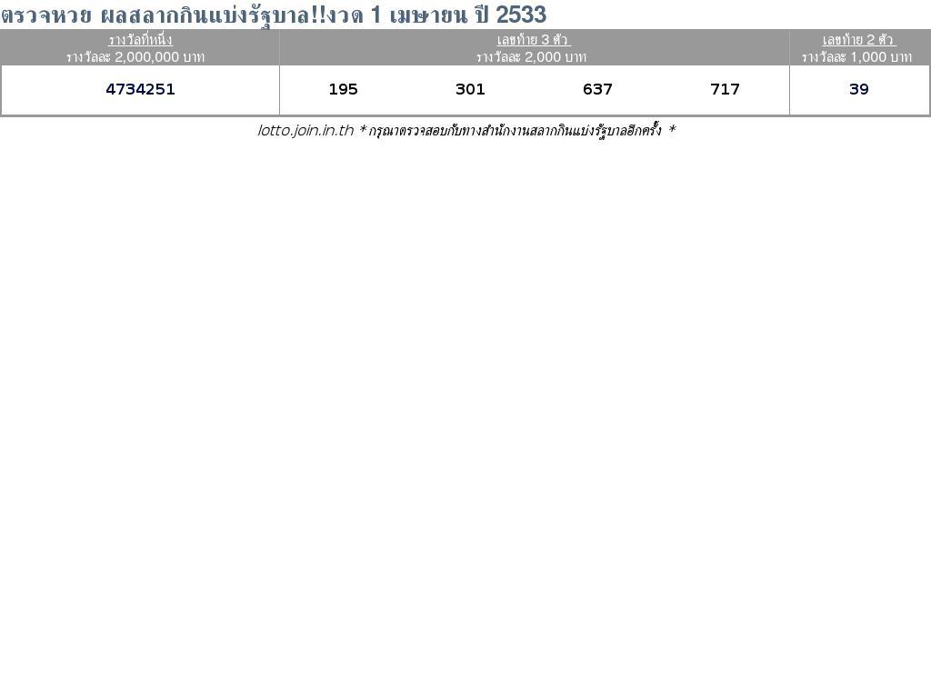 ใบตรวจสลากกินแบ่งรัฐบาล ใบตรวจหวย 1 เมษายน 2533