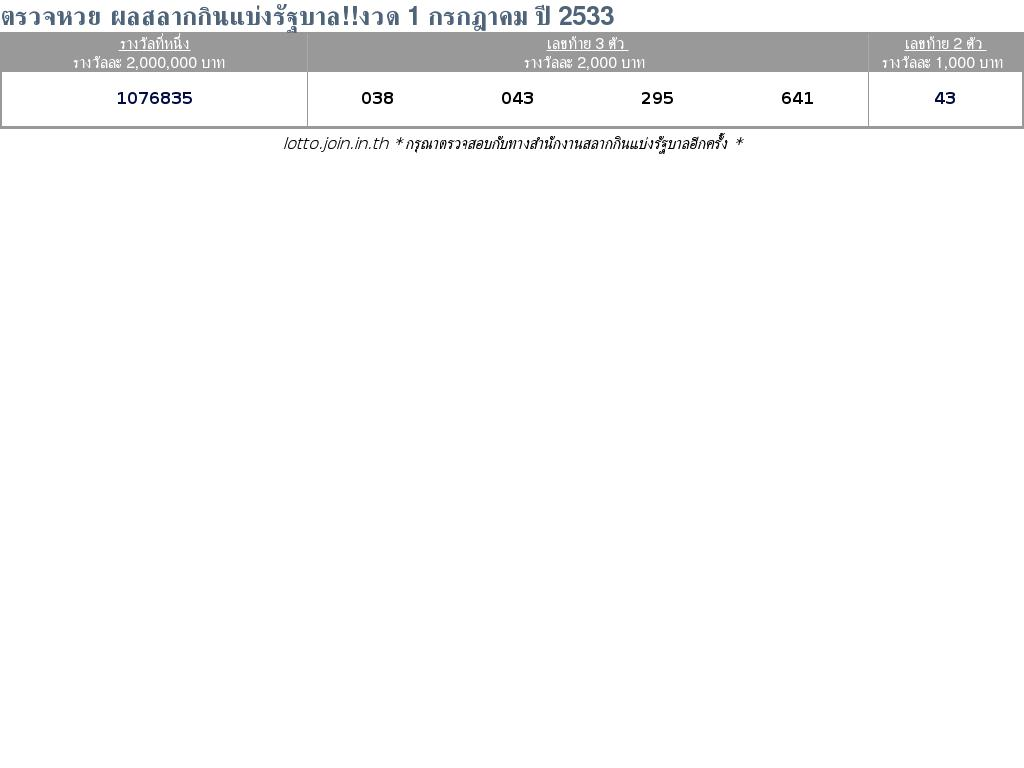 ใบตรวจสลากกินแบ่งรัฐบาล ใบตรวจหวย 1 กรกฎาคม 2533