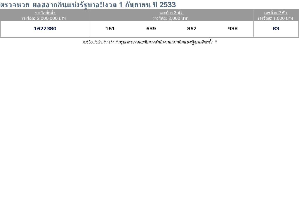 ใบตรวจสลากกินแบ่งรัฐบาล ใบตรวจหวย 1 กันยายน 2533