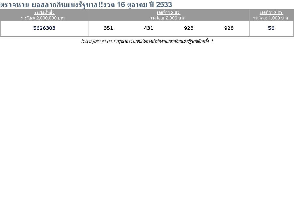 ใบตรวจสลากกินแบ่งรัฐบาล ใบตรวจหวย 16 ตุลาคม 2533