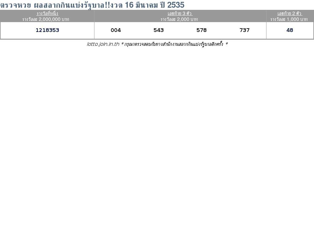 ใบตรวจสลากกินแบ่งรัฐบาล ใบตรวจหวย 16 มีนาคม 2535