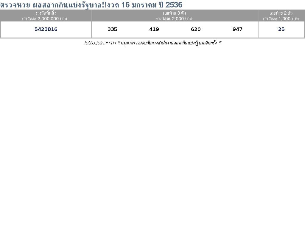 ใบตรวจสลากกินแบ่งรัฐบาล ใบตรวจหวย 16 มกราคม 2536