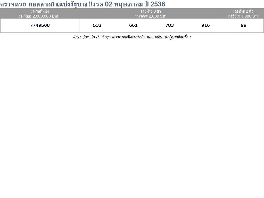 ใบตรวจสลากกินแบ่งรัฐบาล ใบตรวจหวย 02 พฤษภาคม 2536