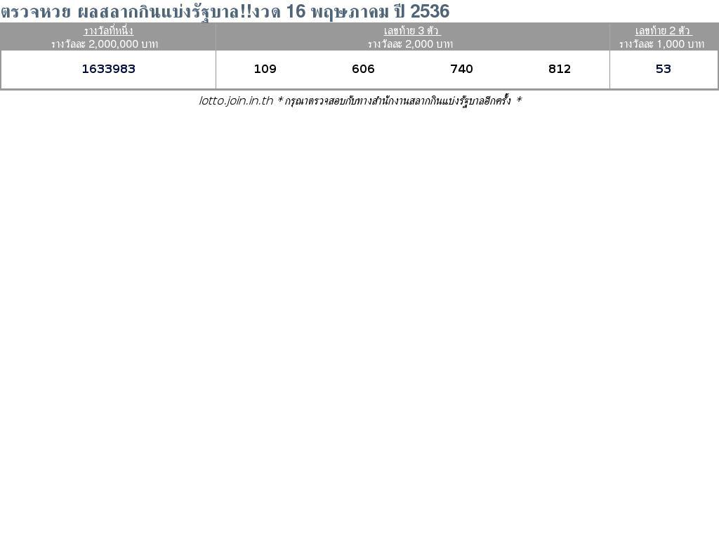 ใบตรวจสลากกินแบ่งรัฐบาล ใบตรวจหวย 16 พฤษภาคม 2536