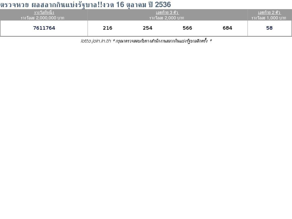 ใบตรวจสลากกินแบ่งรัฐบาล ใบตรวจหวย 16 ตุลาคม 2536
