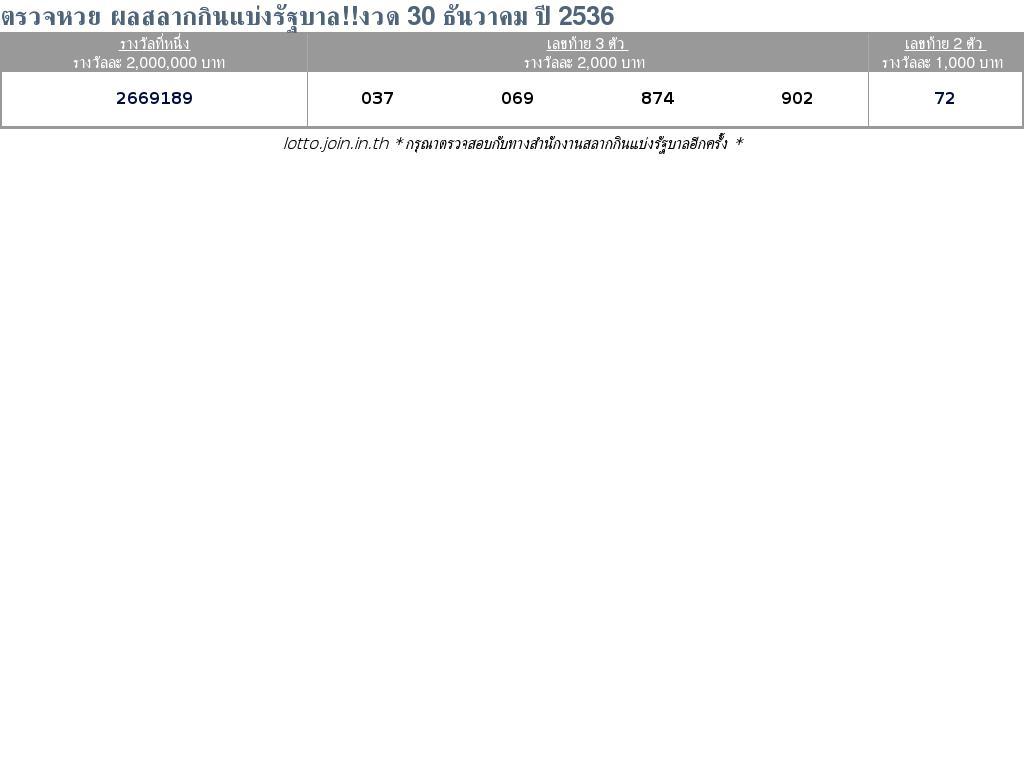 ใบตรวจสลากกินแบ่งรัฐบาล ใบตรวจหวย 30 ธันวาคม 2536