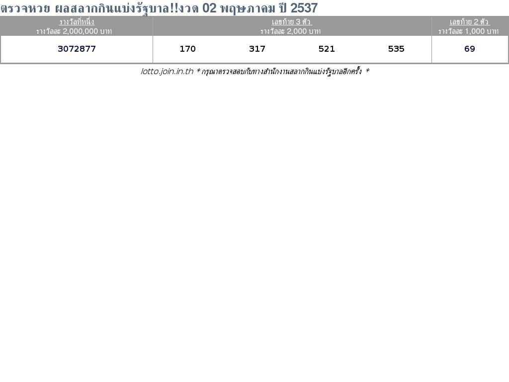 ใบตรวจสลากกินแบ่งรัฐบาล ใบตรวจหวย 02 พฤษภาคม 2537
