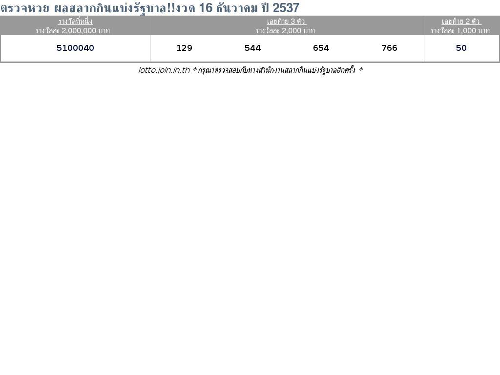ใบตรวจสลากกินแบ่งรัฐบาล ใบตรวจหวย 16 ธันวาคม 2537