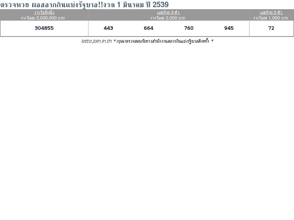 ใบตรวจสลากกินแบ่งรัฐบาล ใบตรวจหวย 1 มีนาคม 2539