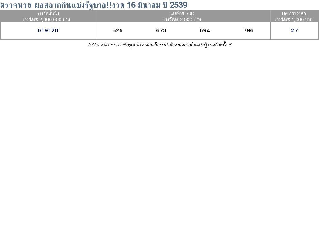 ใบตรวจสลากกินแบ่งรัฐบาล ใบตรวจหวย 16 มีนาคม 2539