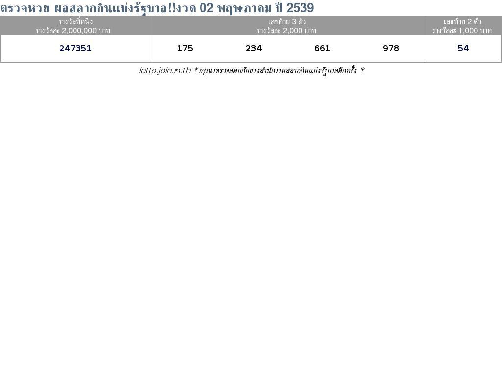 ใบตรวจสลากกินแบ่งรัฐบาล ใบตรวจหวย 02 พฤษภาคม 2539