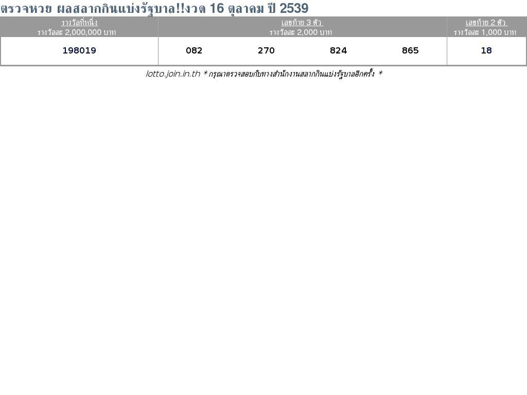 ใบตรวจสลากกินแบ่งรัฐบาล ใบตรวจหวย 16 ตุลาคม 2539