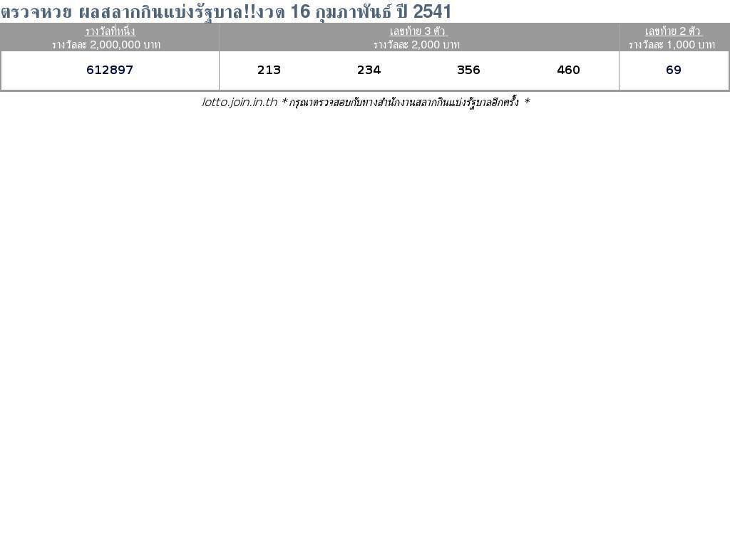 ใบตรวจสลากกินแบ่งรัฐบาล ใบตรวจหวย 16 กุมภาพันธ์ 2541