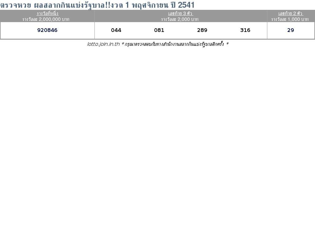 ใบตรวจสลากกินแบ่งรัฐบาล ใบตรวจหวย 1 พฤศจิกายน 2541