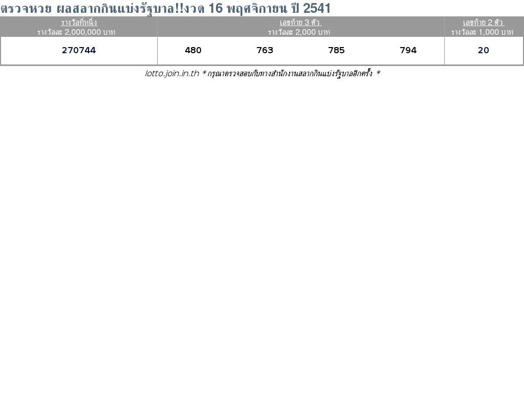 ใบตรวจสลากกินแบ่งรัฐบาล ใบตรวจหวย 16 พฤศจิกายน 2541