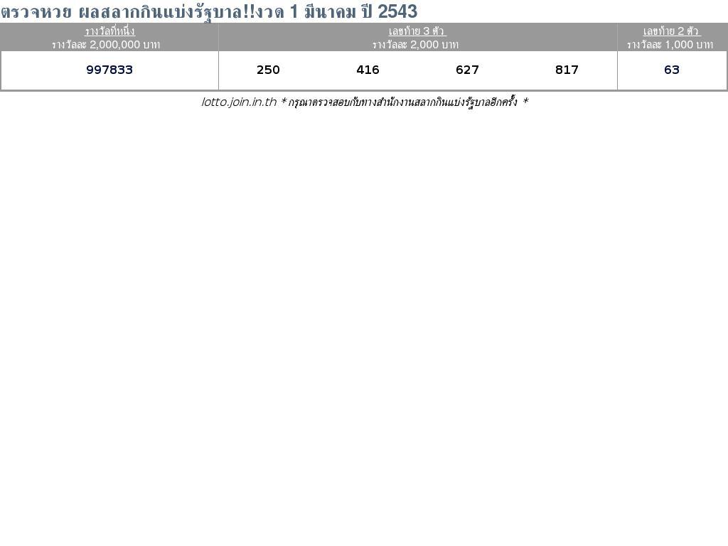 ใบตรวจสลากกินแบ่งรัฐบาล ใบตรวจหวย 1 มีนาคม 2543